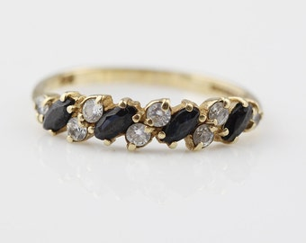 9ct Gold Ladies Half Eternity Ring with Small CZ Clear and Sapphire Set Stones Size UK M 1/2 and US 6.50