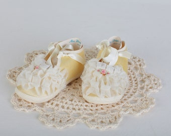 Vintage Yellow Lacy Baby Shoes