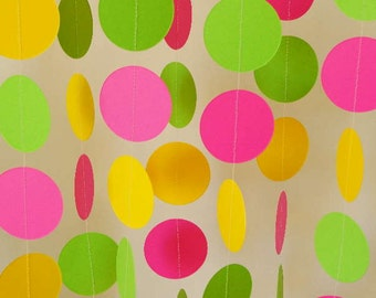Girl's Birthday Garland, Hot Pink, Yellow, Lime Green Party Decorations, Bright Circle Garland, 10 ft. long