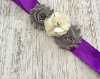 Purple Grey Sash, Purple Bridal Sash, Wedding belt sash, bridesmaid Sash Belt, Grey Ivory Flower Belt Sash, Purple Sash, flower Sash Belt