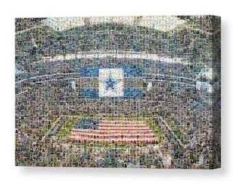 Unique, Large Dallas Cowboys Mosaic Art Print of AT&T Stadium Made from Over 200 Player Trading Card Images.