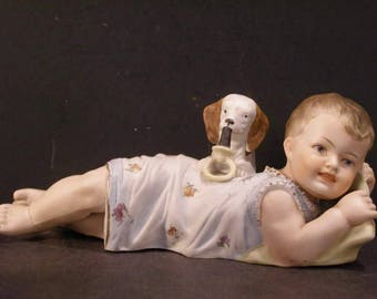 LARGE 19c Heubach Porcelain Bisque Piano Baby Figurine Puppy Dog Rattle Teething Ring Figure