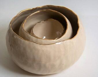 Ceramic Nesting Bowls, Ceramic Dishes, Stoneware Dishes, Ceramic Serving Bowl, Handmade Pottery, Gift For Mom