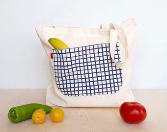 Reusable grocery bag, Large shopper bag for women, Shopper, Large tote bag for women, Ethically made reusable shopper, Farmers market bag