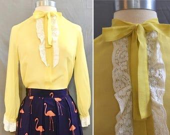 VTG  Womens 1960's Sheer Voile Lemon Yellow Blouse Suntogs of Miami