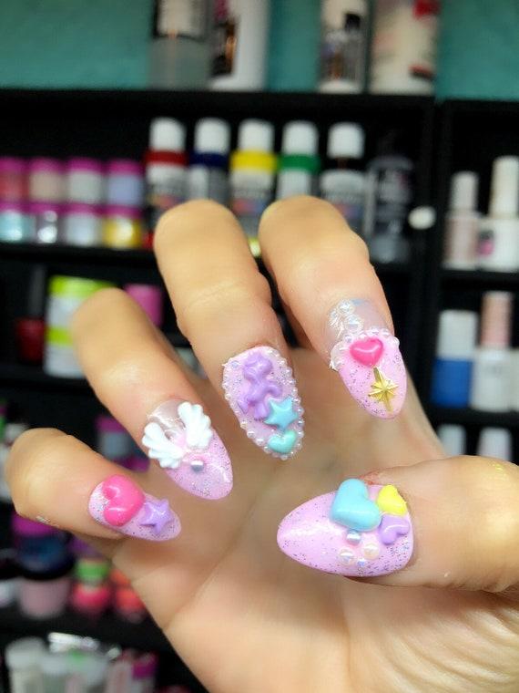 Kawaii lolita Nails 3D japanese Nails| Pastel unicorn nails| Press ...