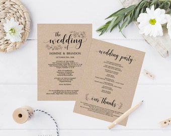 UK Australia Wedding, Printable Wedding Program, Wedding Program Template, Rustic Wedding, Ceremony Printable Template, Editable PDF #A4_017