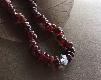 Garnet and Herkimer Diamond Bracelet