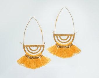 Tassel Earrings Earrings Yellow Tassel Earrings Tassel Jewelry Tassel Accessory Gold Tassels Fan Tassel Earrings Fan / TULLIA