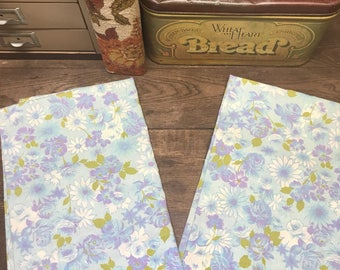 Vintage Pillowcases Retro Floral Set of 2 Muslin Purple, Blue, Avocado green