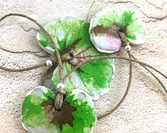 Leafy statement necklace polymer clay green and purple leaves lightweight necklace