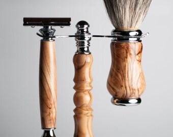 Handmade Olive Wood shaving kit
