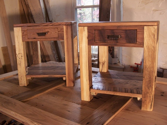Rustic Parsons Style End Tables With Drawer Shelf And Vintage