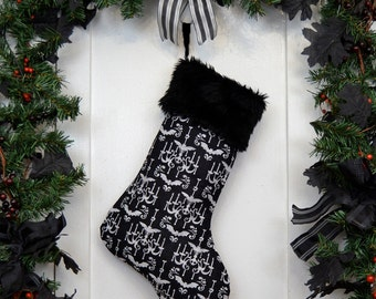 Goth Punk Halloween Christmas Stocking Black and White Haunted Mansion Style Bats and Skulls Chandelier, Black Faux Fur, Black Canvas LIner