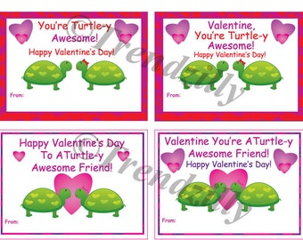 Turtle Valentine, Printable Kids Valentine Cards, Valentines Day Card, Valentine's Day, Girl Valentines, Turtle, Instant Download (Set of 4)