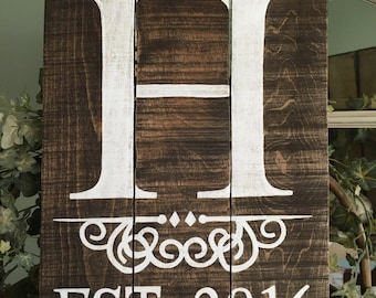 Initial with Established Date Wedding Sign, Initial Wood Sign with Established Year, Wood Initial Sign with Year