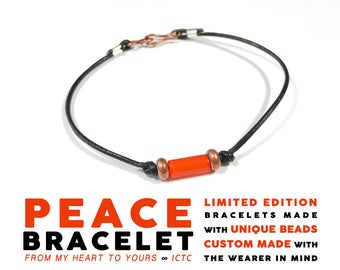 PEACE BRACELET // Orange Copper Black // 1mm Black Leather African Orange Glass Tube and Copper Disc Beads Personalized Custom Wedding Gift