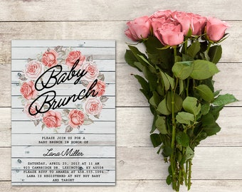 Baby Brunch Invitation, Baby Shower, Rustic Baby Brunch, Pink Floral Wreath, Pink Roses, Floral Baby Brunch, Printable No. 1005