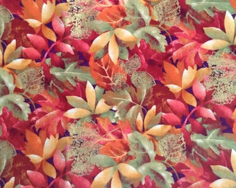 1 yard of orange, green and gold Autumn leaves  cotton fabric