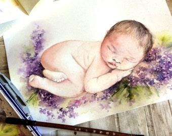 Newborn ORIGINAL Watercolor Painting, Sleeping Baby and Purple Flowers Painting