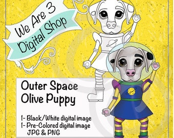 We Are 3 Digital Shop, Outer Space, Olive Puppy,  Pre-Colored, Printable, Digital Stamp