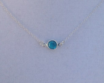 Delicate Layering or Minimalistic Sterling Necklace with Small Swarovski Crystal in Blue Zircon, Silver Necklace, Beachy, Summery, Crystal