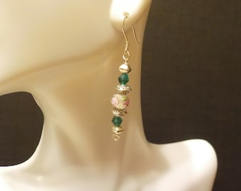 Rose and Green Swarovski Crystal with Sterling Silver Accent Earrings