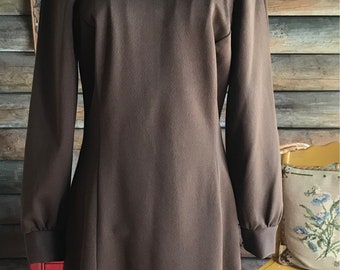 1970s chocolate brown dress with high collar