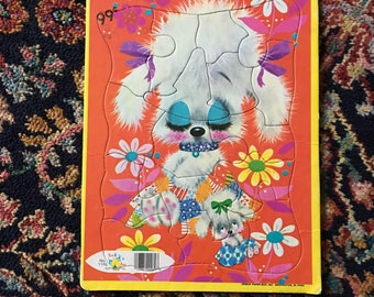 Vintage Retro Kitsch Sleepyhead White Poodle Puzzle by Tee Pee Toys no. 1190