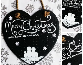 Christmas Snow Family Personalised Heart Slate