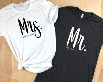 Mr and Mrs shirts, Mr and Mrs, just married shirts, newlyweds, Couples Shirts, his and her shirts, honeymoon shirts, wedding day shirts