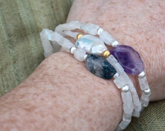 Baroque pearl boho bracelet | Luxury gift for her | June birthstone| Luxe resort wear | Raw gem stone bracelet | Bohemian stacking bracelet