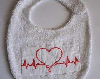 White heart bib for baby 0-24 months