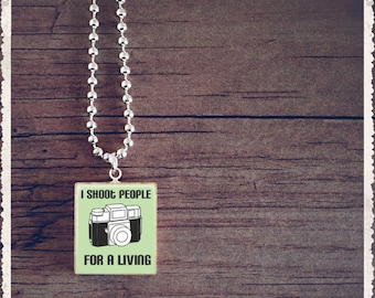 Scrabble Tile Art Pendant - I Shoot People For A Living Green - Scrabble Jewelry Charm - Choose Your Style