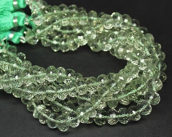 "Prasiolite Green Amethyst Faceted Rondelle Gemstone Loose Beads Strand 8"" 8mm - Jewelry Making"
