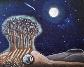 Badgers Moon Giclee print.Badger print. comet. full moon print. Badger sleeping print