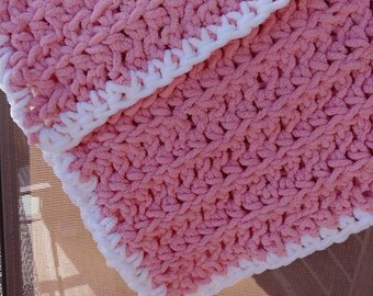 Pink with White Border Crochet Baby Blanket