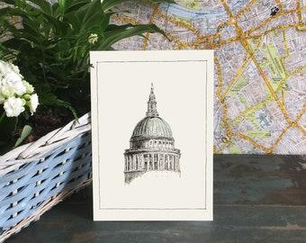 Birthday Card for him, London Card, London Skyline, London Postcard, London Art Sketch Card, Illustrated Card ,Blank Greeting Card