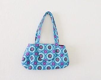 Women's handbag, fabric handbag, fabric purse, handmade purse, women's gift idea, women's accessory, teal handbag, cute purse, fully lined