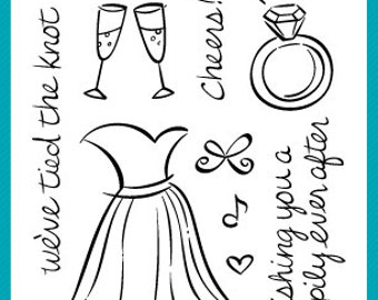Wedding Stamp - Wedding Stationary - Cheers - Wedding Theme Stamp Set by Lawn Fawn