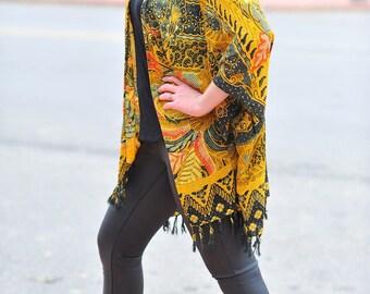 Gold Yellow Print Kimono