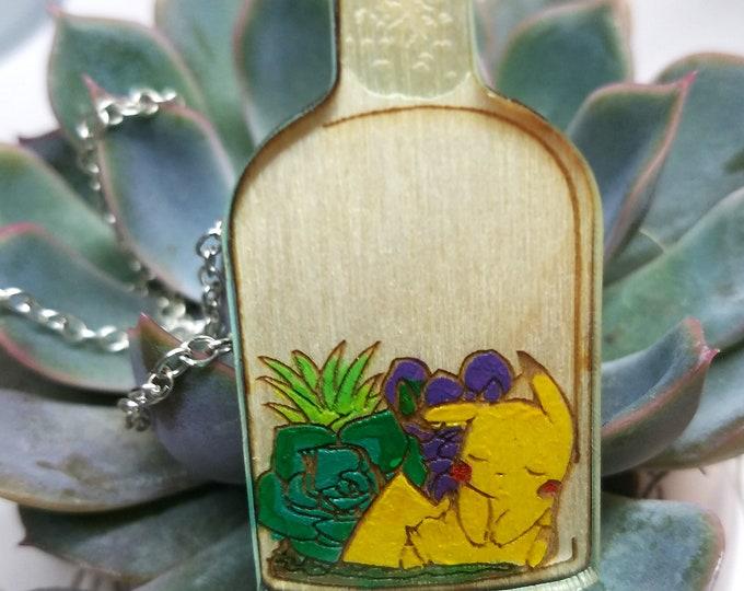 Sleeping Pikachu Succulent Bottle Terrarium Pokemon Inspired Necklace | Laser Cut Jewelry | Handmade Necklace