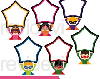 Superheroes clipart sale - Superhero holding star sign board clipart - superhero clip art - digital download, commercial use