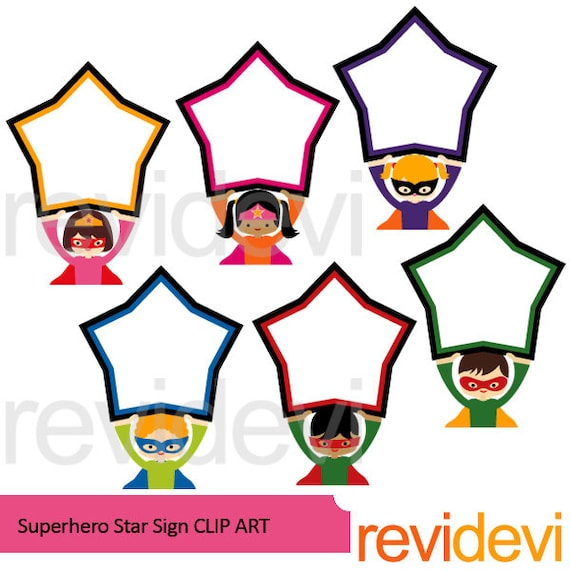 superheroes clipart sale superhero holding star sign board clipart rh etsystudio com