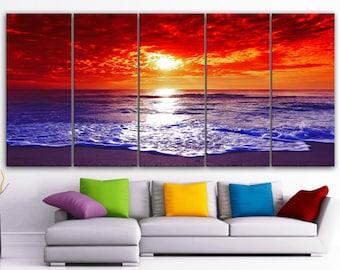 "XLARGE 30""x 70"" 5 Panels Art Canvas Print Beach Sunset Wall Home Decor interior (Included framed 1.5"" depth)"
