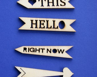 Wood Arrow Sign Shapes - Wooden Accessories- - Scrap booking - Card making - Craft supplies