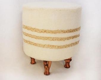 Off-white Wool Stool