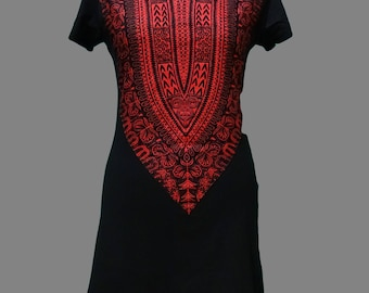 Dashiki African inspired Skinnifit Ladies Tshirt Dress (Medium)