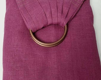 Linen Ring Sling Baby Carrier - Newborn Sling - Infant Wrap Carrier - Toddler Sling - Pleated Shoulder - Plum