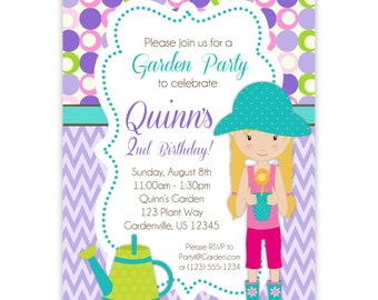 Garden Invitation - Purple Chevron, Lavender, Lime Polka Dot, Girls Garden Party Personalized Birthday Party Invite - Digital Printable File